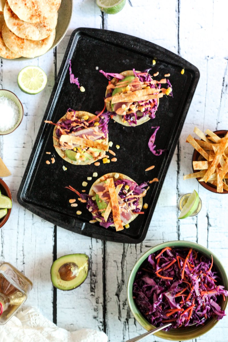 Taco tuesday fresh tuna fish tacos with adobo crema red for Fish taco red cabbage slaw