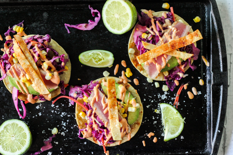 Fresh tuna fish tacos adobo crema red cabbage slaw for Fish taco red cabbage slaw