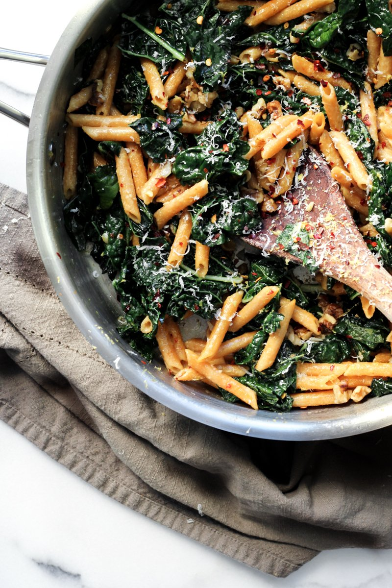 Sauteed Kale Penne with Toasted Walnuts & Fresh Parmesan - She Eats